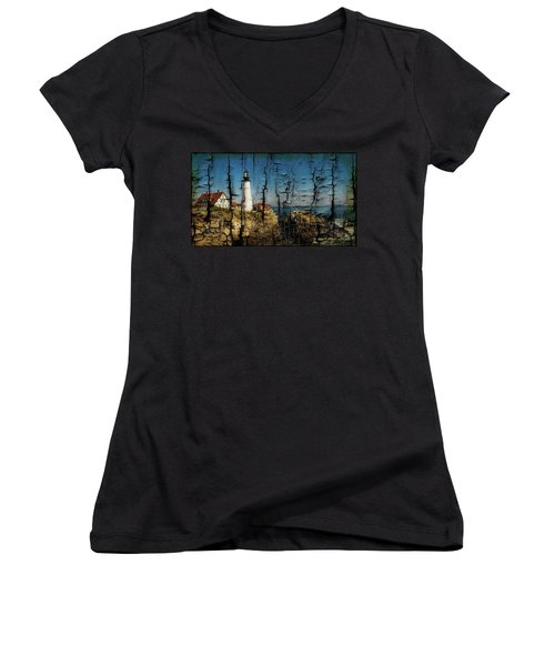 Portland Head Lighthouse 5 Women's V-Neck T-Shirt (Junior Cut) by Sherman Perry