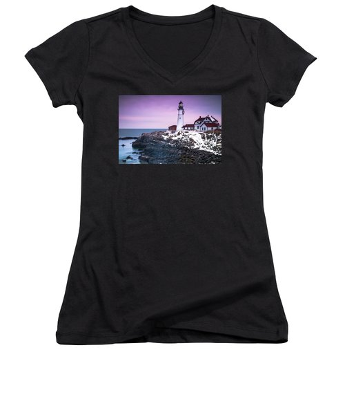 Women's V-Neck T-Shirt (Junior Cut) featuring the photograph Maine Portland Headlight Lighthouse In Winter Snow by Ranjay Mitra