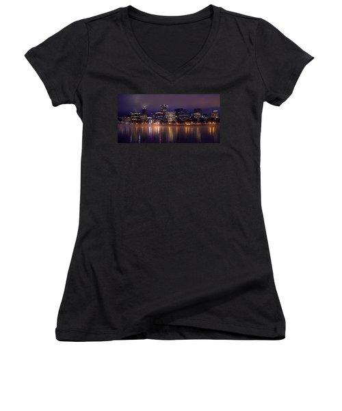 Portland Night Skyline Women's V-Neck T-Shirt (Junior Cut) by Joseph Skompski