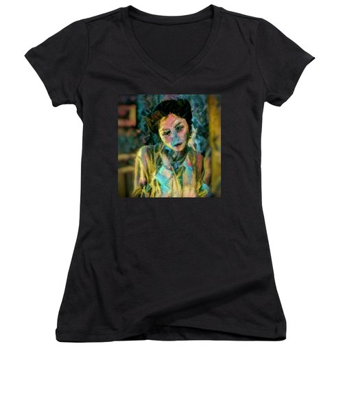 Women's V-Neck T-Shirt (Junior Cut) featuring the painting Portrait Colorful Female Wistfully Thoughtful Pastel by MendyZ