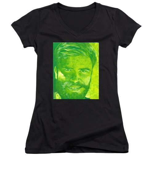 Portrait In Green Women's V-Neck