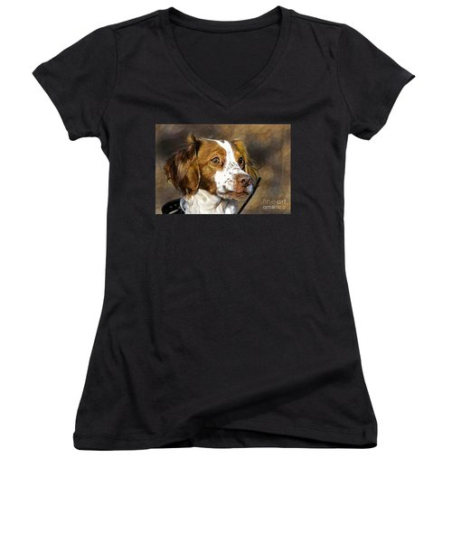 Women's V-Neck T-Shirt (Junior Cut) featuring the photograph Portrait Of A Brittany - D009983-a by Daniel Dempster