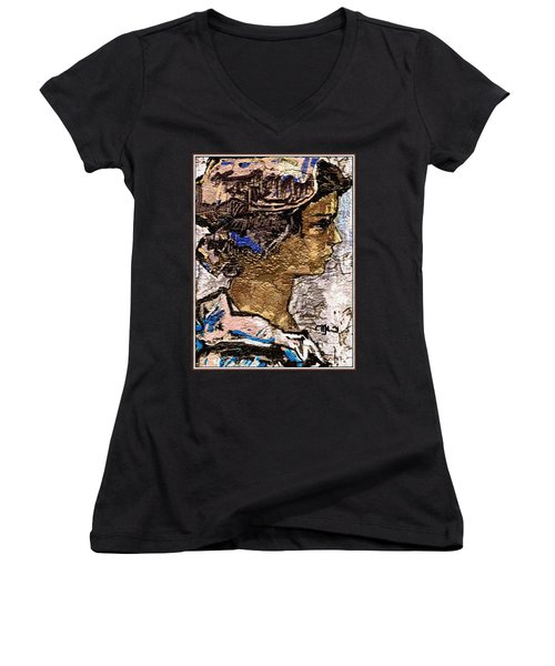 Women's V-Neck T-Shirt (Junior Cut) featuring the digital art Portrait Of A Girl Pog2 by Pemaro