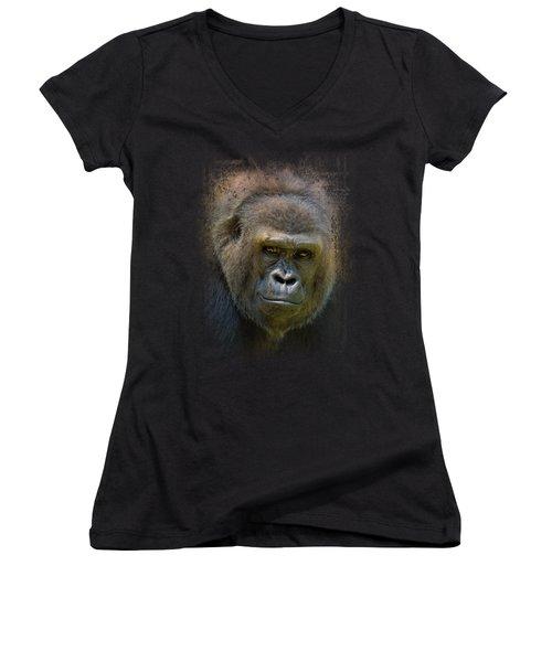 Portrait Of A Gorilla Women's V-Neck T-Shirt (Junior Cut) by Jai Johnson
