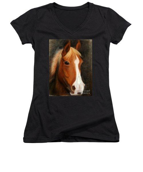 Portrait Of A Horse Women's V-Neck T-Shirt (Junior Cut) by Jasna Dragun