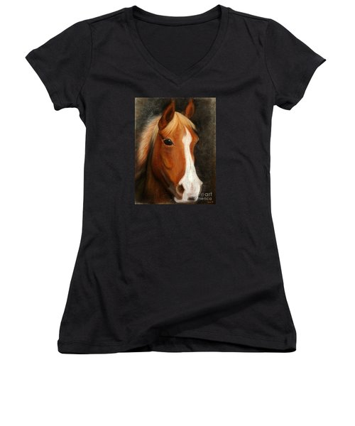 Portrait Of A Horse Women's V-Neck T-Shirt
