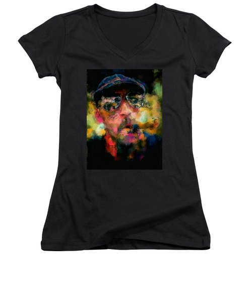 Women's V-Neck T-Shirt (Junior Cut) featuring the painting Portrait Of A Man In Sunglass Smoking A Cigar In The Sunshine Wearing A Hat And Riding A Motorcycle In Pink Green Yellow Black Blue Oil Paint With Raking Light To Pick Up Paint Texture by MendyZ