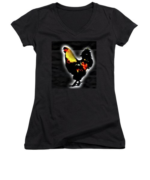 Portrait Of A Rooster Women's V-Neck (Athletic Fit)