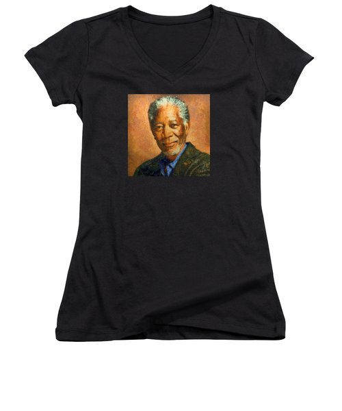 Women's V-Neck T-Shirt (Junior Cut) featuring the digital art Portrait Of Morgan Freeman by Charmaine Zoe