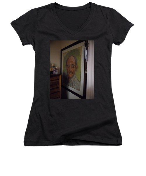 Portrait Of My Dad Women's V-Neck T-Shirt (Junior Cut) by Val Oconnor