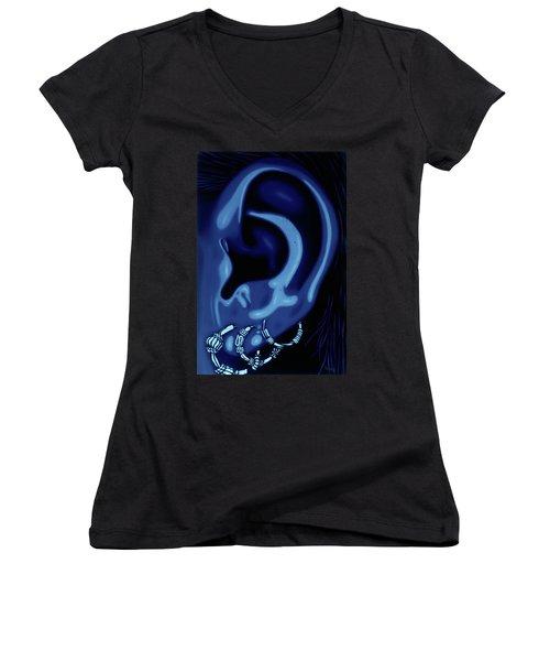 Portrait Of My Ear In Blue Women's V-Neck