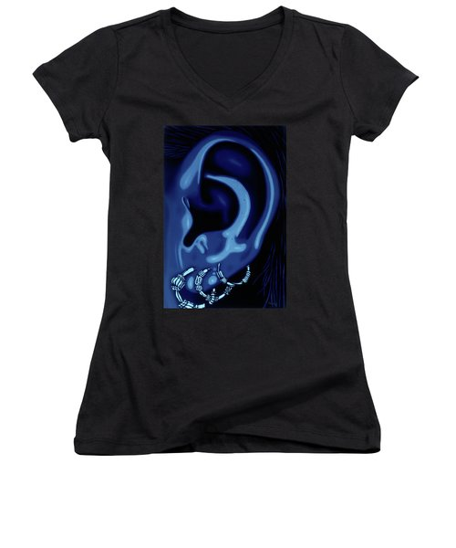Portrait Of My Ear In Blue Women's V-Neck (Athletic Fit)