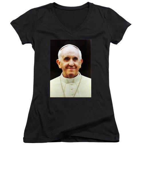 Portrait Of Pope Francis I Women's V-Neck