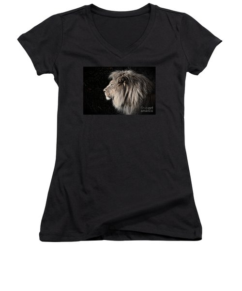 Portrait Of The King Of The Jungle II Women's V-Neck T-Shirt