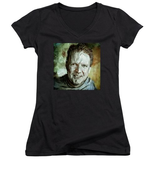 Women's V-Neck T-Shirt (Junior Cut) featuring the painting Portrait Painting Cinematographer Camera Operator Behind The Scenes Movie Tv Show Film Chicago Med by MendyZ