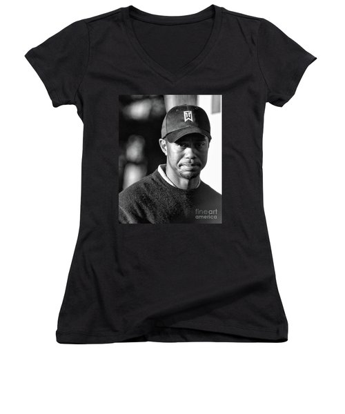 Portrait  Tiger Woods Black White  Women's V-Neck