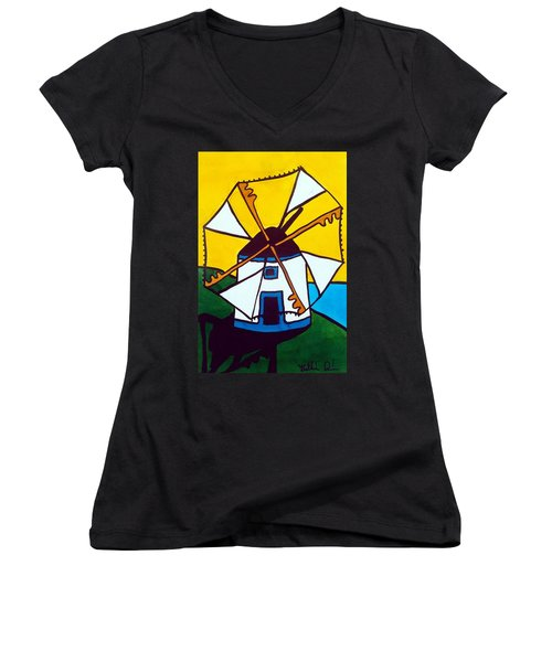 Women's V-Neck T-Shirt featuring the painting Portuguese Singing Windmill By Dora Hathazi Mendes by Dora Hathazi Mendes