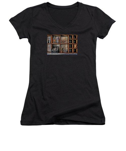 Post Office Women's V-Neck T-Shirt (Junior Cut) by Ed Hall