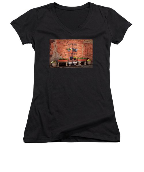 Women's V-Neck T-Shirt featuring the photograph Potted Plants And A Brick Wall by James Eddy