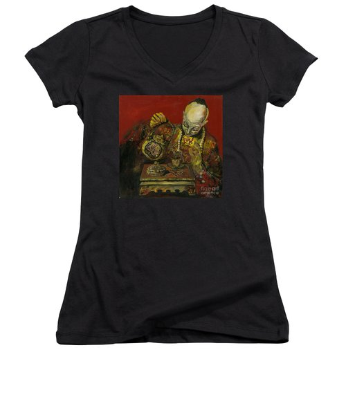 Pouring Tea Women's V-Neck