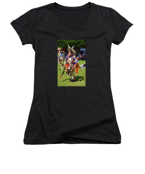 Pow Wow Warrior Women's V-Neck T-Shirt (Junior Cut) by Lew Davis