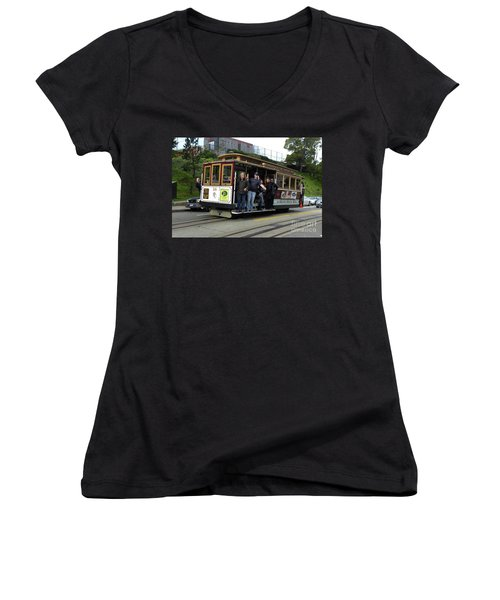 Women's V-Neck T-Shirt (Junior Cut) featuring the photograph Powell And Market Street Trolley by Steven Spak