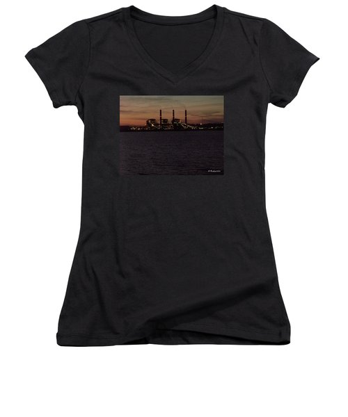 Women's V-Neck T-Shirt (Junior Cut) featuring the photograph Power In The Dark by Betty Northcutt