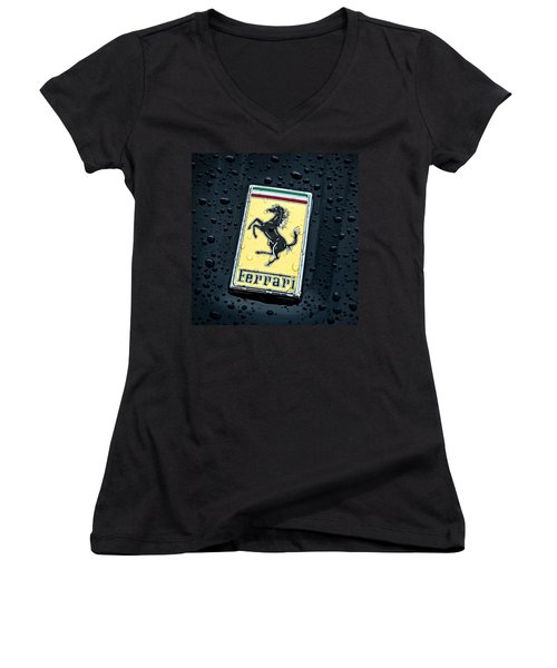 Prancing Stallion Women's V-Neck T-Shirt (Junior Cut) by Douglas Pittman