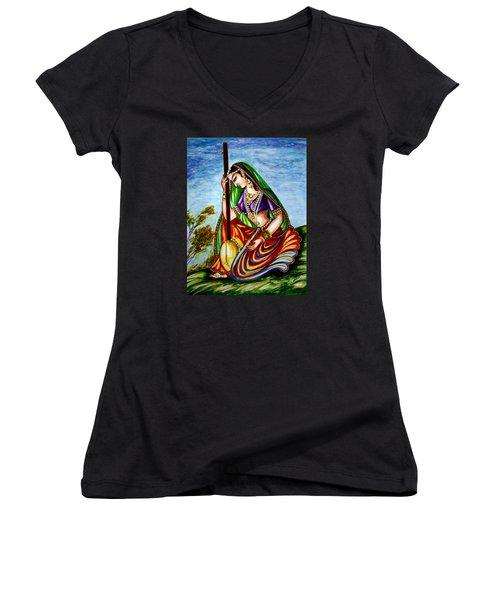 Krishna - Prayer Women's V-Neck T-Shirt (Junior Cut) by Harsh Malik