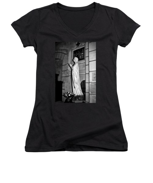Women's V-Neck T-Shirt featuring the photograph Praying Nun 2 by Elf Evans