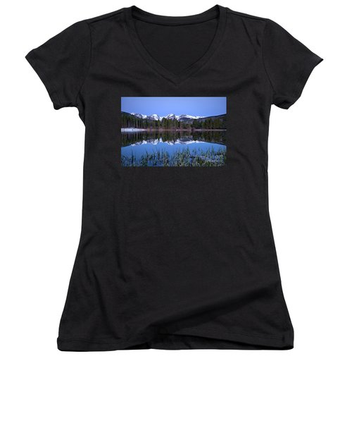Pre Dawn Image Of The Continental Divide And A Sprague Lake Refl Women's V-Neck T-Shirt