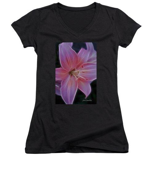 Precious Pink Lily Women's V-Neck T-Shirt