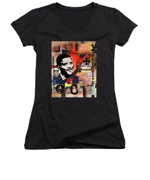 President Barack Obama Women's V-Neck T-Shirt (Junior Cut) by Everett Spruill