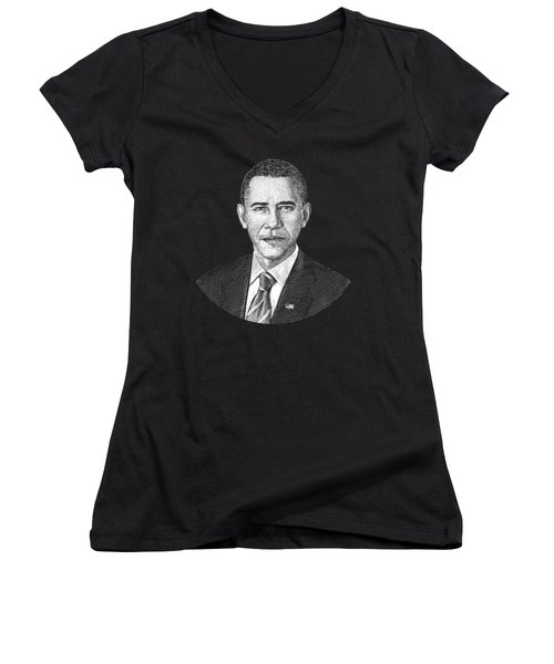 President Barack Obama Graphic Women's V-Neck T-Shirt (Junior Cut) by War Is Hell Store