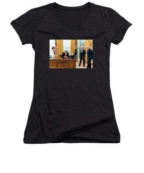 President Donald Trump Women's V-Neck T-Shirt (Junior Cut) by Charles Shoup
