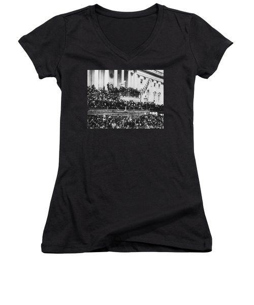 President Lincoln Gives His Second Inaugural Address - March 4 1865 Women's V-Neck (Athletic Fit)
