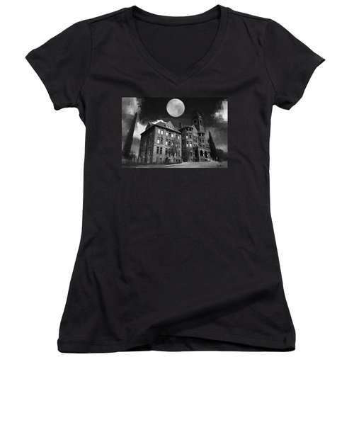 Women's V-Neck T-Shirt (Junior Cut) featuring the digital art Preston Castle by Holly Ethan