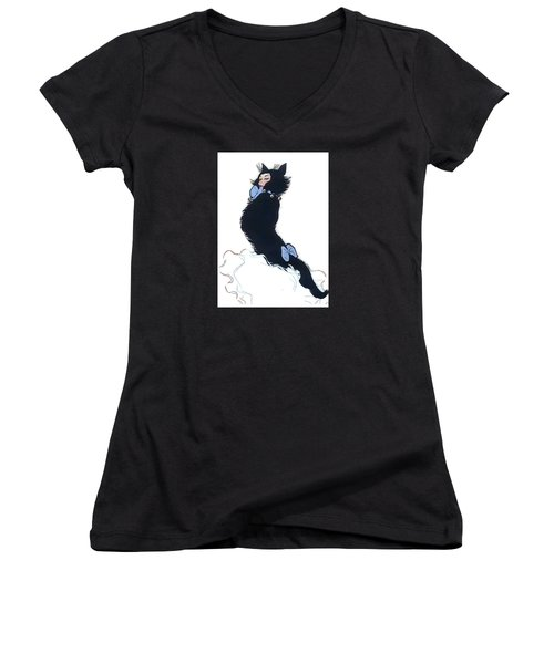 Women's V-Neck (Athletic Fit) featuring the digital art Pretty Kitty by ReInVintaged