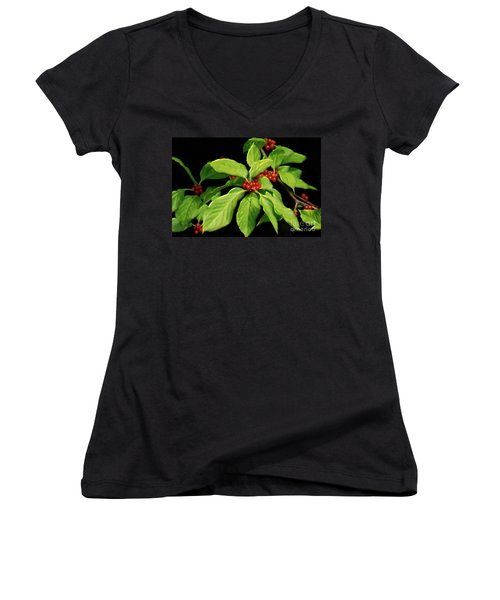 Women's V-Neck T-Shirt (Junior Cut) featuring the photograph Pretty Little Red Berries by Lois Bryan