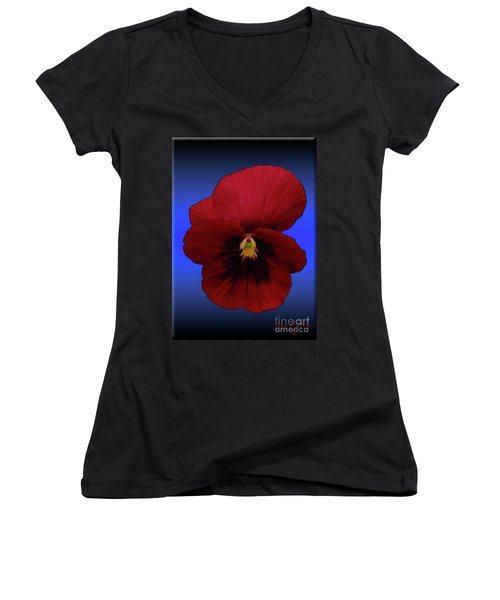 Women's V-Neck T-Shirt (Junior Cut) featuring the photograph Pretty Pansy by Donna Brown