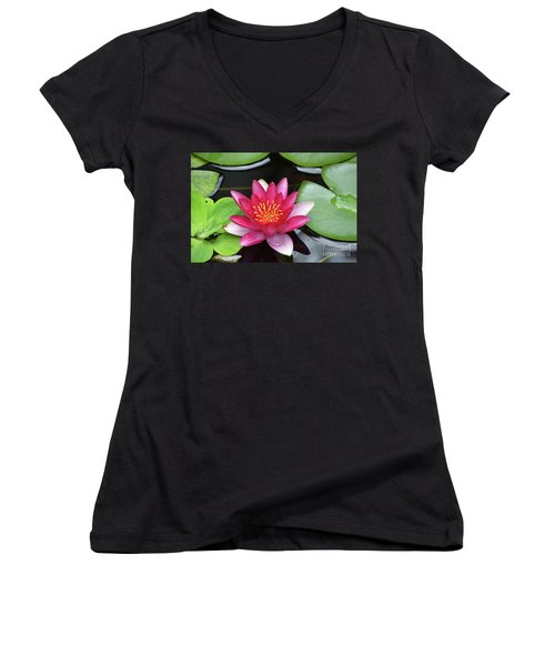 Pretty Red Water Lily Flowering In A Water Garden Women's V-Neck T-Shirt