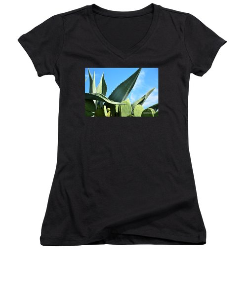 Women's V-Neck T-Shirt (Junior Cut) featuring the photograph Prickly Pear Cactus And Century Plant by Ray Shrewsberry
