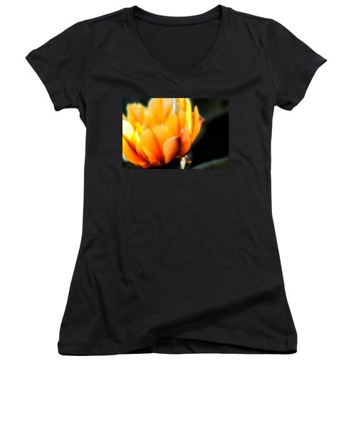 Women's V-Neck T-Shirt (Junior Cut) featuring the photograph Prickly Pear Flower by Lynn Geoffroy