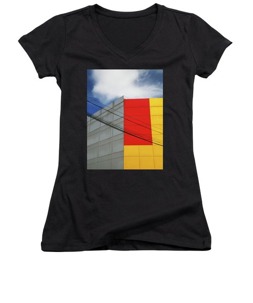 Women's V-Neck T-Shirt (Junior Cut) featuring the photograph Primarily 1 by Skip Hunt