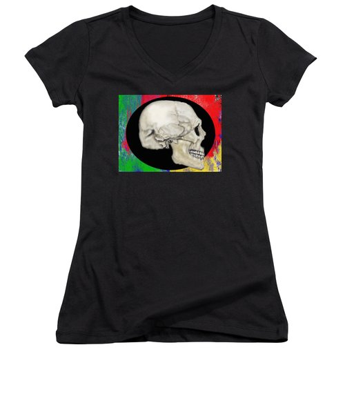 Primary Skull Women's V-Neck (Athletic Fit)