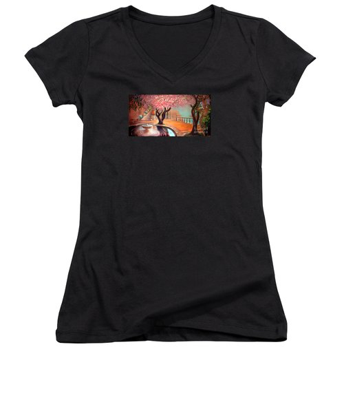 Women's V-Neck T-Shirt (Junior Cut) featuring the painting Primavera by Michael Rock