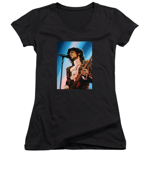 Prince Painting Women's V-Neck T-Shirt (Junior Cut) by Paul Meijering