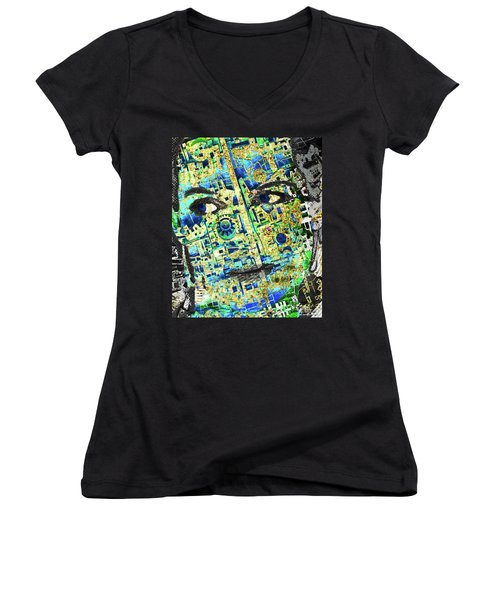 Women's V-Neck T-Shirt (Junior Cut) featuring the mixed media Princess by Tony Rubino