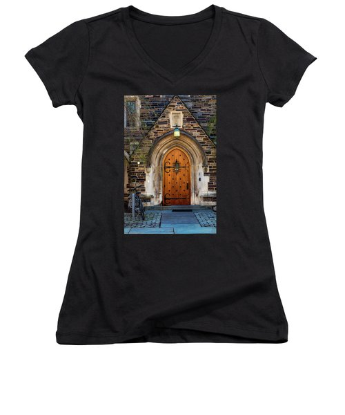 Women's V-Neck T-Shirt (Junior Cut) featuring the photograph Princeton University Henry Hall by Susan Candelario