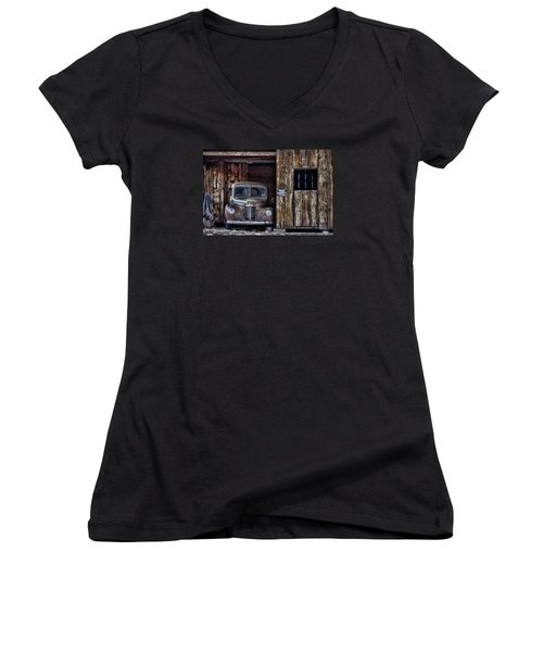 Private Parking Women's V-Neck T-Shirt (Junior Cut) by Ken Smith